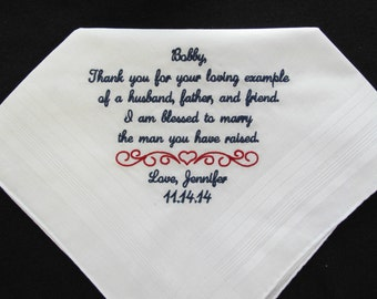 Embroidered Wedding Handkerchief for Father of the Groom