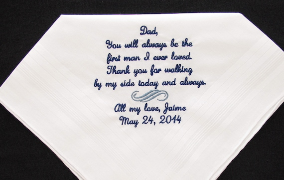 Wedding Handkerchief Embroidered for the Father of the Bride.  Use this popular verse or choose your own 40 words.