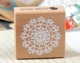 ROUND LACE DOILY Wooden Rubber Stamp