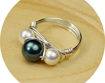 Pearl Ring-  Sterling Silver Filled Wire Wrap Ring with Tahitian Blue and White Crystal Pearls -Size 4, 5, 6, 7, 8, 9, 10, 11, 12, 13, 14
