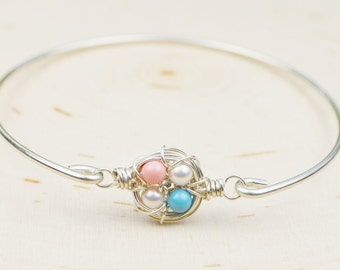 Birds Nest Bracelet- Your Choice of Colors-  Sterling Silver Filled Wire Wrapped Bangle Bracelet with Swarovski Crystal Pearls- Made to Size