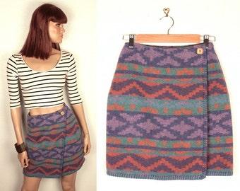 90s tribal blanket skirt // wrap skirt