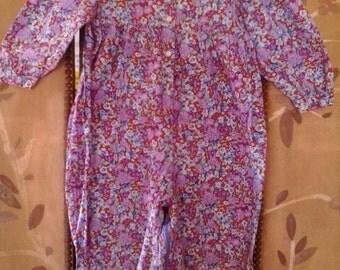 80s purple flowered baby girls cotton onesie