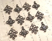 Tiny Filigree Brass Connector Findings Oxidized Finish 2 Styles Mixed (12)