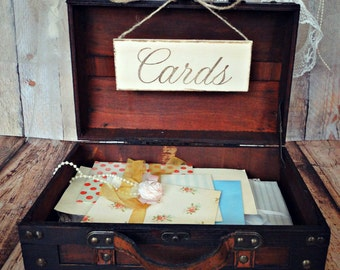 Trunk-wedding-card holder-card box-advice-wishes-wishing well-wedding trunk-shabby-distressed-wood-vintage inspired-card sign-beach