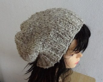 Hand Knit  Hat  beret women knit hat slouch women Slouchy Beanie Chunky Knit Winter Fall Accessories Slouchy Knitted