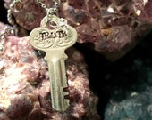 "Hand Stamped Vintage Key ""TRUTH"" -Jewelry Necklace pendant"