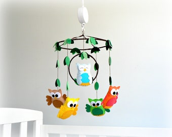 Baby owl mobile - Nursery baby crib mobile -Woodland mobile - Kids decor - Nursery children decor - MADE TO ORDER