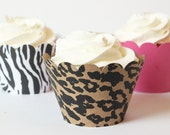 Animal Print Cupcake Wrappers Zebra Leopard Print Pink Girls Birthday Cupcake Party Animal Print Party Supplies Bachelorette / Set of 12