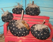 Primitive Folk Art Fall Prim Black and White Stained Polka Dot Fabric Pumpkins Ooak Set of 5 HAFAIR OFG FAAP