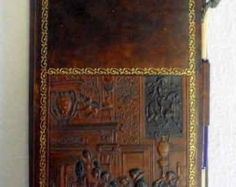Vintage 1920s Embossed Leather Bridge Score Pad w/Ornate Victorian Scene/Card Games/Austria