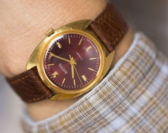 Gold plated men's watch, East mechanical watch, burgundy face gent's watch, shockproof watch, premium leather strap new