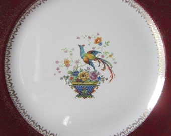 Vintage Salem Century China Gold Maroon Bowls Bird of Paradise Plates Colorful Peacock Pink Blue Rose Basket Vintage Chargers  Cups Saucers