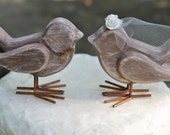 Wedding Cake Topper Love Birds Bridal Shower Cake Topper, Veil With Roses, Jute Bow Tie, Rustic Shabby Chic Weddings