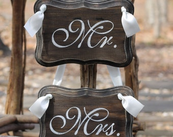 Mr. Mrs. Chair Signs Photo Props, (Jute Twine or Satin Ribbon), Rustic Shabby Chic Weddings