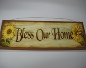 Bless our Home sunflower fall country Wooden Wall Art Sign Farm decor