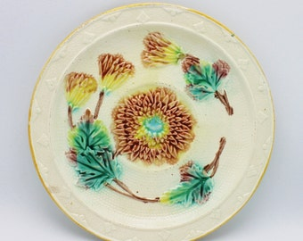 Majolica Astor Pattern Antique Plate Hampshire Pottery Works Circa 1880