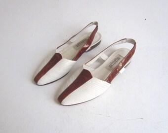 italian sandals /  white leather slingback sandals 6