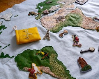 Personalized Memory Map. Customized Handmade Felt Interactive World Map by Aly Parrott on Etsy. CUSTOMIZED ITEM.