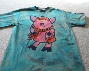 Do you or your teenager love to shop? Then this adorable little pink pig t-shirt is for you,man's medium discharge t-shirt with procion dyes