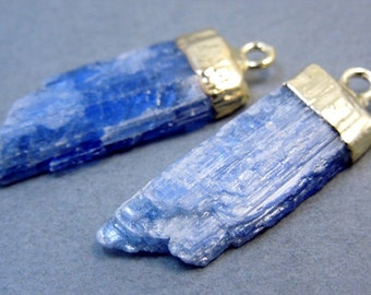 Raw Blue Kyanite Pendants Charms with Gold Electroplated Caps-- 1 PAIR (S20B1-03)