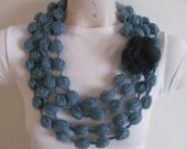 Blue Bubble Puff Stitch Scarf Necklace Cowl With Black Flower,USA Seller