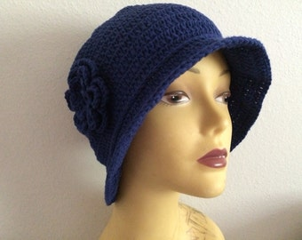 Chemo Cotton Navy Cloche Hat With Flower