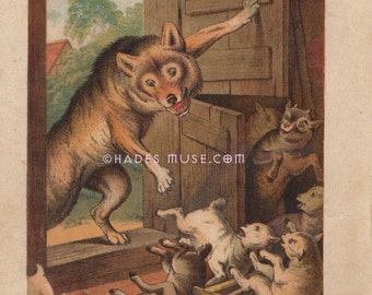 Big Bad Wolf Eats Cute Baby Goats-The Seven Little Kids-Predator-Brothers Grimm Fairy Tale-1890 Antique Vintage Art Print-Children's Picture
