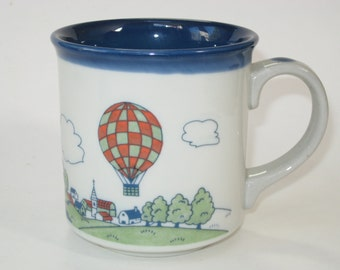 Otagiri Japan Hot Air Balloon Stoneware Mug - Country Scene Raised Enamel Coffee Cup MINT w/ Label