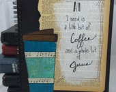 Hand painted journal, Jesus and coffee journal, coffee cup art, Christian art, Bible study journal