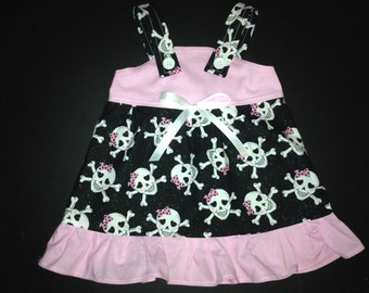 Sparkle Glitter Skull Baby Infant Toddler Girls Dress  You Pick Size
