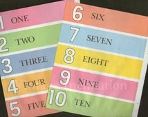 1950s Delightful Nursery NUMBERS CHART color Book Plates 123