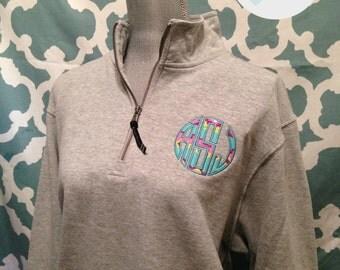 Monogrammed Applique Quarter Zip Pullover - Charles River Brand