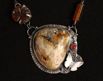 Silver Cymophane Butterfly Necklace With Carnelian Cab, Carved Vintage Agate Flower, Lemon Jade Nuggetss