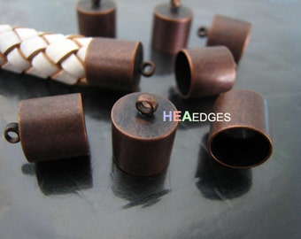 4pcs Red Copper End Caps 9mm - Findings Large Leather Cord Ends Cap with Loop 12.5mm x 10mm