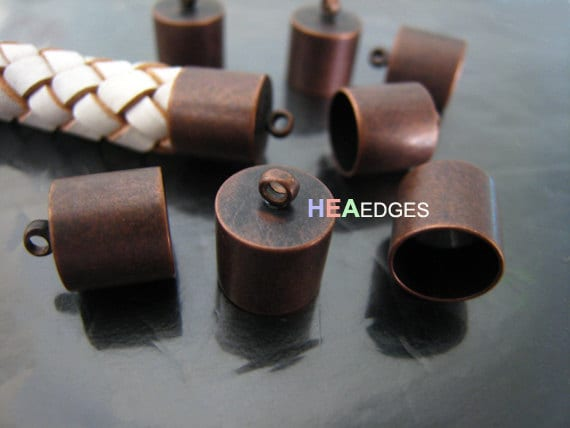 Pcs red copper end caps mm findings large leather cord