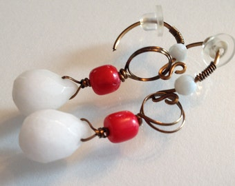 White Jade and Red Coral with Bronze Earrings
