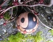 """Yin Yang Lotus Blossom Pyrography Woodburning 2.5"""" Maple Wood Egg"""