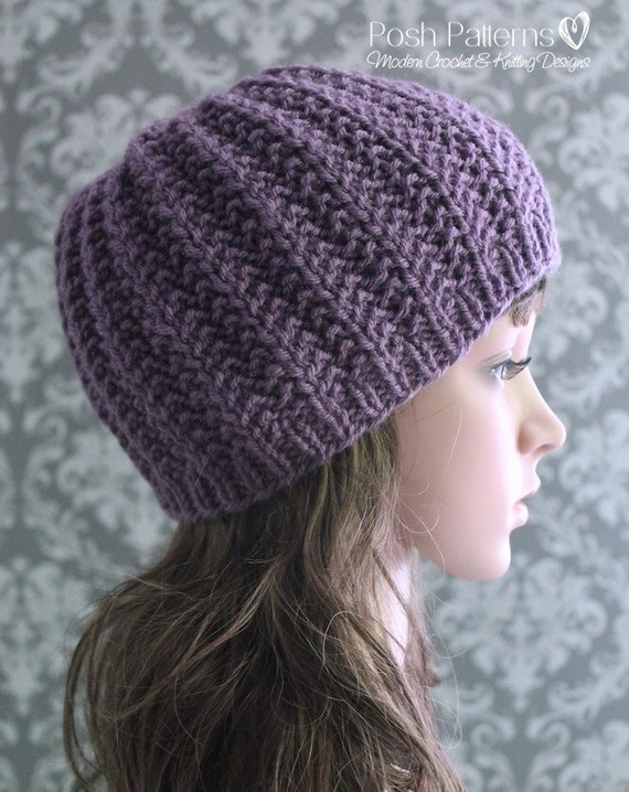 Knitting PATTERN Easy Ribbed Hat Beanie Knitting by PoshPatterns