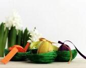 Easter Eggs in Nest Decoration - Wool Felt Eggs - Easter Holiday Table Decor.