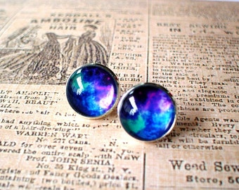 20% OFF -- Galaxy Bright Blue purple color Stud Earrings/Great for Party,beautiful gift for her