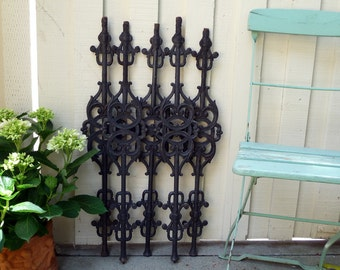 Architectural Salvage, Set of 2, Cast Iron Panels, Austrian Baluster, Fence Ornamental Iron, Wall Hanging Fragment