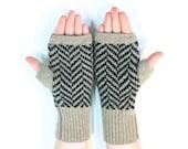SALE Gloves Wool Fingerless Gloves Chevron Wool Herringbone Tweed Gloves Knitted Fingerless Gloves Black and Tan Knitted Gloves Fawn Gloves