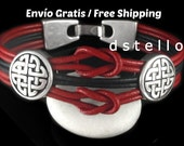 Celtic knot leather bracelet - Black, red, brown - Antiqued silver infinity knots - Multistrand - Gaelic - Free Shipping - Quality