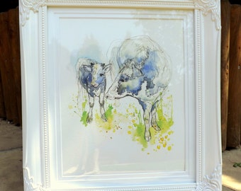 A4 Giclee Print: Dairy Cow and Baby watercolour illustration
