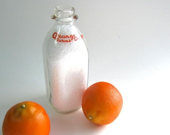 Vintage Milk Bottle - Orange Pyro Glaze - Glass Bottle - Orange Farms Dairy