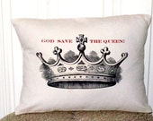 "shabby chic, feed sack, french country, God Save the Queen crown 12"" x 16"" pillow sham."