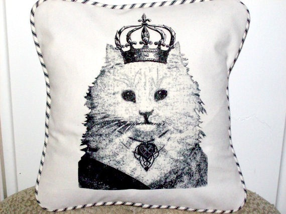 "shabby chic, feed sack, french country, vintage cat queen graphic with french ticking welting 14"" x 14"" pillow sham."