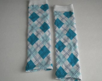 Baby Legwarmers/Arm warmers, Blue and White Argyle READY TO SHIP