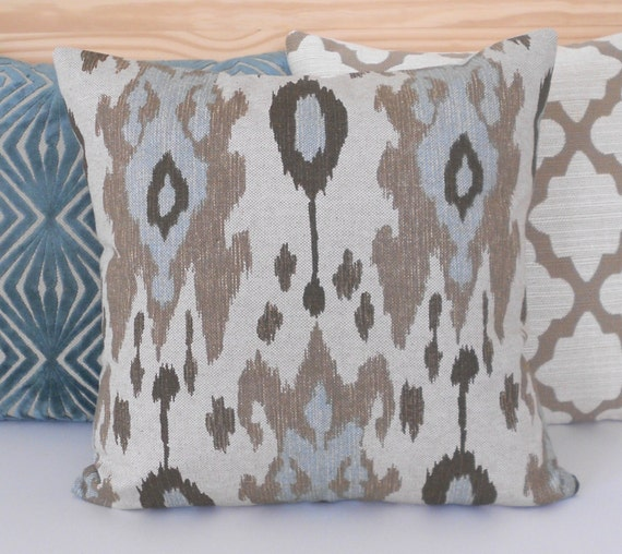 Light Blue And Brown Decorative Pillows : Ikat decorative pillow cover light blue brown by pillowflightpdx